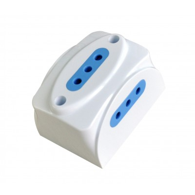 Wall triple socket 10A 2P+T white - Techly - IUPS-PCP-3I10A-1