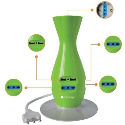Table Desk Smart Power Strip 5-ports USB Green - Techly - IUPS-PCP-JAR-1
