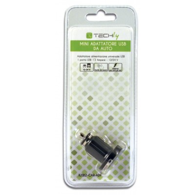 Compact 1p USB 1200 mAh Adapter for Car Cigarette Lighter Socket - Techly - IUSB2-CAR-ADP-1