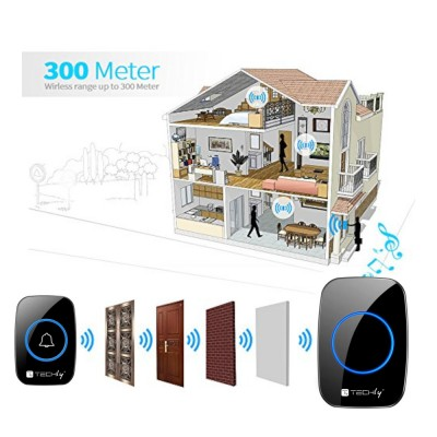 Wireless Doorbell Kit up to 300m with Remote Control - Techly - I-BELL-RING04-7