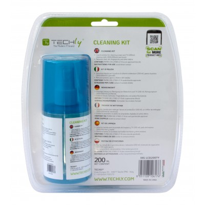 Cleaning Kit for Monitor 200ml with Microfiber Cloth and Brush - Techly - IAS-LCD200TY-1