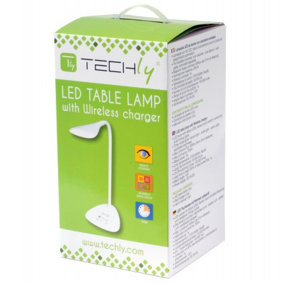 Table LED Lamp with Wireless Charger - Techly - I-LAMP-DSK6-1