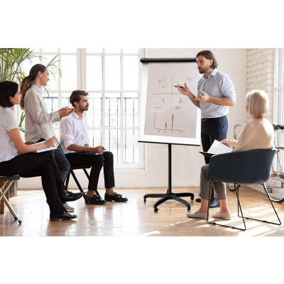 Whiteboard Flipchart with Pivoting Wheels 70 x 100 cm - Techly - ICA-FP 710-2