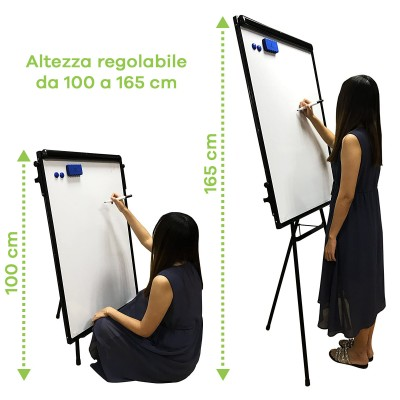 Magnetic Whiteboard with Tripod Easel Adjustable 60 x 90 cm - Techly - ICA-FP 602-2