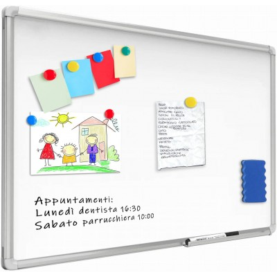 White Lacquered Magnetic Whiteboard Dry Erase 120x180 cm - Techly - ICA-WH 108-1
