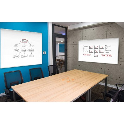 White Lacquered Magnetic Whiteboard Dry Erase 90x180 cm - Techly - ICA-WH 106-8