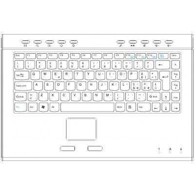 Slim Mini Keyboard with Touchpad Aluminium - Techly - IDATA KB-218T-2
