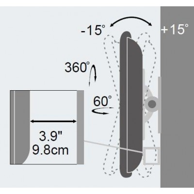 """Wall Support for LCD LED 13""""-30"""" Full Motion White - Techly - ICA-LCD 201WH-3"""