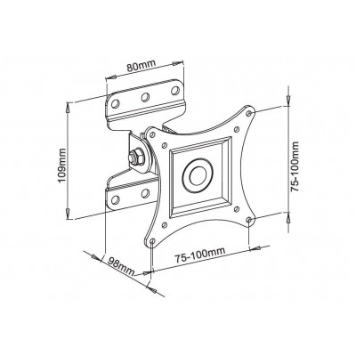"""Wall Support for LCD LED 13""""-30"""" Full Motion White - Techly - ICA-LCD 201WH-2"""