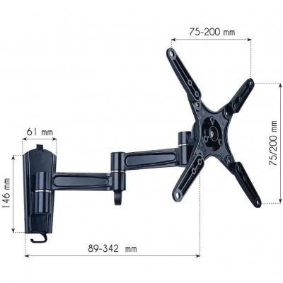 "13-37"" LED TV LCD Tilt Wall bracket 3 Joints Black - Techly - ICA-LCD 2102-3"