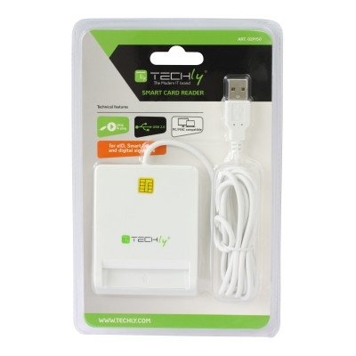 Compact Smart Card Reader/Writer USB2.0 White - Techly - I-CARD CAM-USB2TY-2