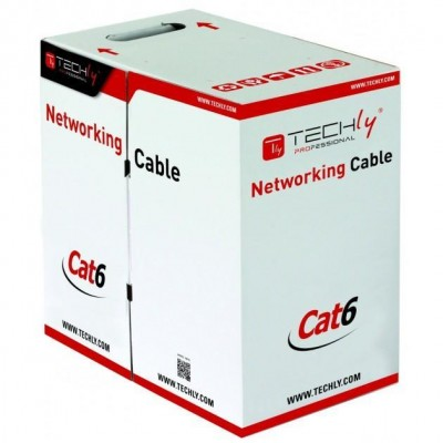 Cable U/UTP, 4 pairs, Cat.6 copper 305m Roll Solid Grey - Techly Professional - ITP6-UTP-ICH-1
