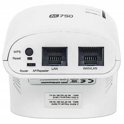 Wall Plug WiFi Mini Router 750Mbps Dual Band Repeater5 - Techly - I-WL-REPEATER5-3