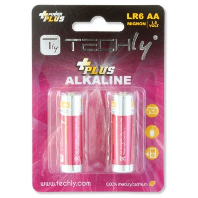 Blister 2 Batteries Power Plus Stilo AA Alkaline LR06 1.5V - Techly - IBT-KAP-LR06-B2T-1