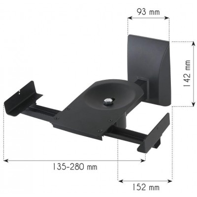 Couple Speakers Wall Brackets up to 25kg Black - Techly - ICA-SP SS201-3