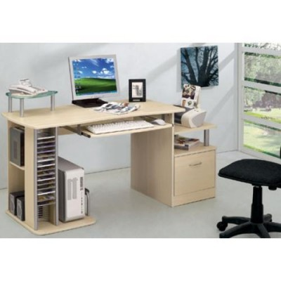 Multifunction Desk PC with Six Shelves, Maple - Techly - ICA-TB 202A-2
