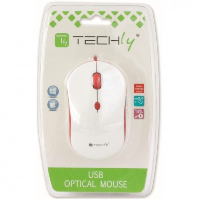 Optical Mouse 800-1600 dpi USB White / Red - Techly - IM 1600-WT-WR-1
