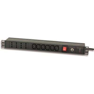 "Rack 19"" PDU 4 italian + 6 VDE outputs with switch  - Techly Professional - I-CASE STRIP-64-0"