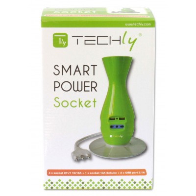 Table Desk Smart Power Strip 5-ports USB Green - Techly - IUPS-PCP-JAR-2