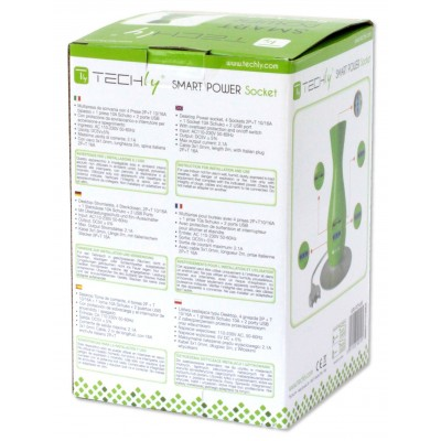 Table Desk Smart Power Strip 5-ports USB Green - Techly - IUPS-PCP-JAR-8