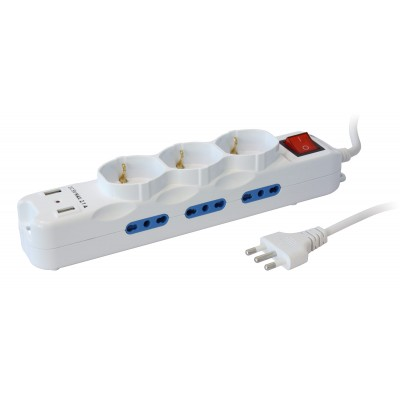 Multisocket with 9 italian sockets 10/16A + 3 Schuko and 2 USB Ports - Techly - IUPS-PCP-6I3SU-1