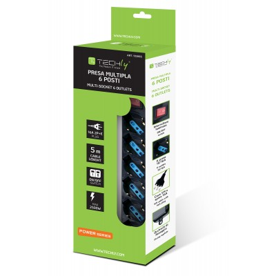 Power Strip 6 Places Italian Bypass Switch with Cable 5m Black - Techly - IUPS-PCP-16BK5-1