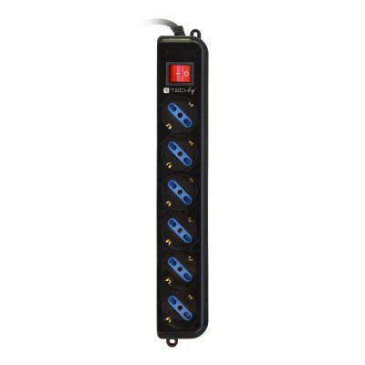 Power Strip 6 Sockets Black with VDE Plug - Techly - IUPS-PCP-6V-3