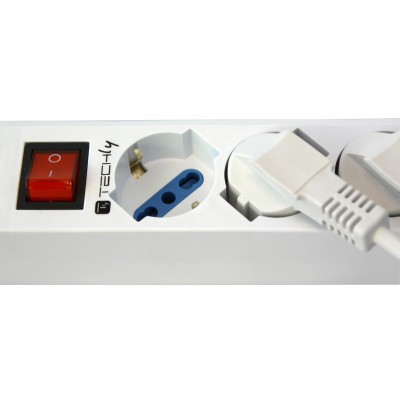 Multi socket with 7 Italian sockets 10/16A with VDE plug white  - Techly - IUPS-PCP-7V-9