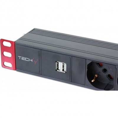 "PDU rack 19"" 6 outlets with switch and 2 USB ports 1 HE - Techly Professional - I-CASE STRIP-62U-2"