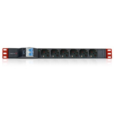 "Rack 19"" PDU 6 Outlets Schuko with circuit breaker 1HE - Techly Professional - I-CASE STRIP-61U-1"