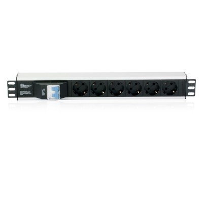 """Rack 19"""" PDU with 6 outputs Circuit Breaker 3m Cable - Techly Professional - I-CASE STRIP-16A3-1"""