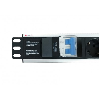 """Rack 19"""" PDU 6 Outlets Schuko with circuit breaker  - Techly Professional - I-CASE STRIP-16SH-3"""