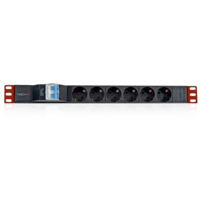 "Rack 19"" PDU 6 Outlets Schuko with circuit breaker 1HE - Techly Professional - I-CASE STRIP-61UD-1"