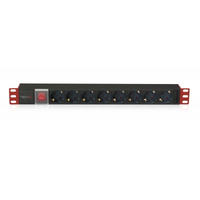 "PDU for 19"" Rack 8 Schuko sockets with switch 1HE - Techly Professional - I-CASE STRIP-81UD-0"