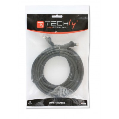 Network Patch Cable in CCA Cat.5E UTP 1m Black - Techly Professional - ICOC CCA5U-010-BKT-1