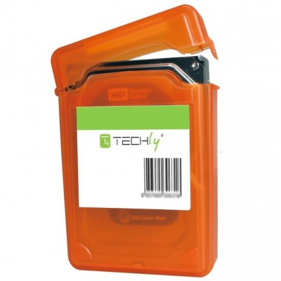 "Box for 1 HDD protection 3.5"" Transparent Orange - Techly - ICA-HD 35OR-2"