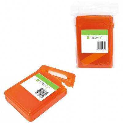 "Box for 1 HDD protection 3.5"" Transparent Orange - Techly - ICA-HD 35OR-3"