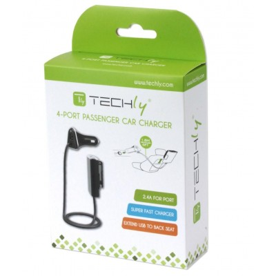 Car Charger 2 USB + 2 USB for Rear Passengers 9.6A Black - Techly - IUSB2-CAR4TY-1