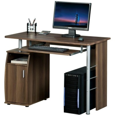 Compact Computer Desk with Four Shelves, Dark Walnut - Techly - ICA-TB 228-1