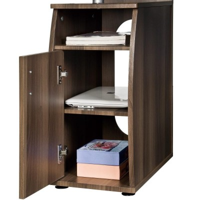 Compact Computer Desk with Four Shelves, Dark Walnut - Techly - ICA-TB 228-5