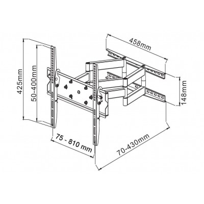 """42""""-70"""" Wall Bracket for LED LCD TV Full-Motion Dual Arm - Techly - ICA-PLB 147XL-2"""
