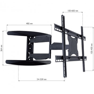 "40-65"" Ultra Slim Full Motion LCD TV Wall Mount Bracket Black - Techly - ICA-PLB 171L-4"
