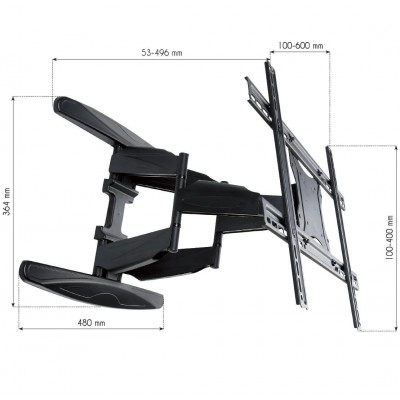 "40-80"" Ultra Slim Full Motion LCD TV Wall Mount Bracket Black - Techly - ICA-PLB 172L-4"