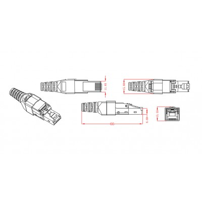 STP Cat.6A RJ45 Modular Plug Toolless - Techly Professional - IWP-8P8C-CAT6AS-3