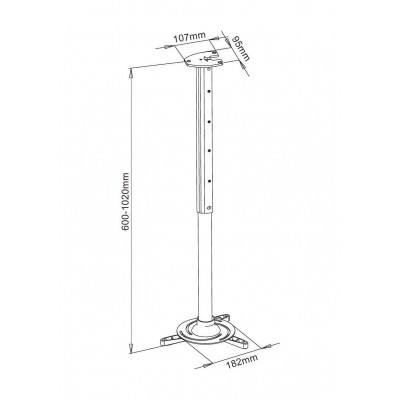 Projector Ceiling Stand Extension 60-102 cm Silver - Techly - ICA-PM 102XL-2