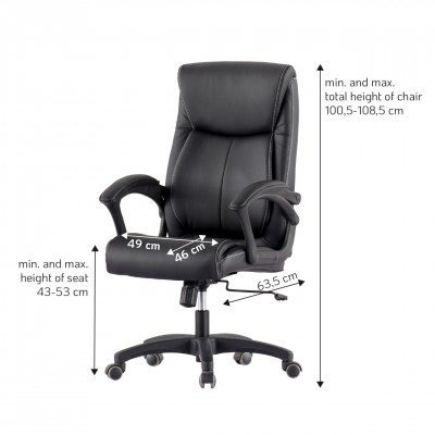 Upholstered Executive Armchair with Armrests Black - Techly - ICA-CT 091BK-5