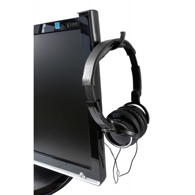 Universal Adhesive Headphone Holder for Monitor and Desk Black (2 Pcs) - Techly - ICC SH-HANGTY-1