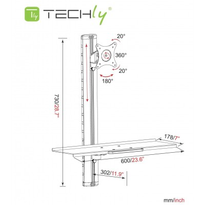 Wall-mounted workstation with monitor support and keyboard shelf - Techly Np - ICA-PLW 01-1