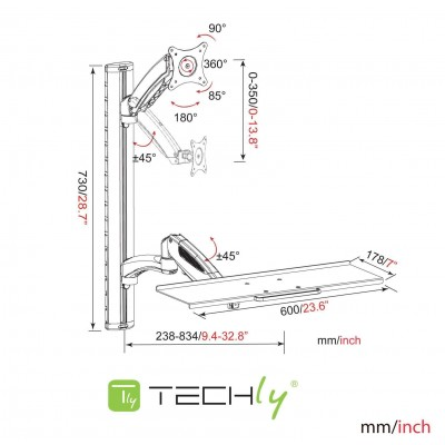 Wall-mounted workstation with monitor support and extendable keyboard shelf - Techly - ICA-PLW 02-2