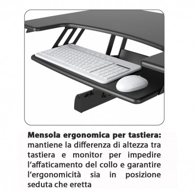 Sit-Stand Desktop Workstation Stand - Techly - ICA-LCD 300-6